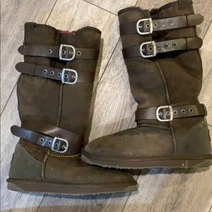 Tall brown EMU boots with buckles
